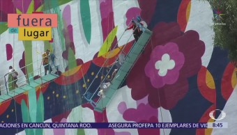 Rescatan a artistas de andamio en CDMX
