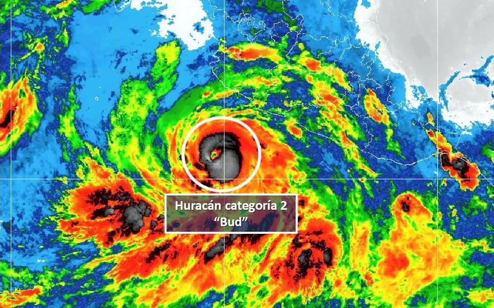 huracan bud alcanza categoria 2 se localiza sur Jalisco