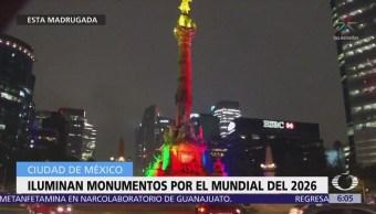 Iluminan monumentos en CDMX por tercer mundial en México