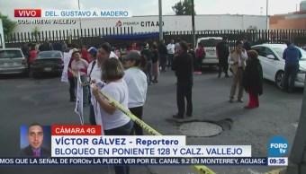 Manifestantes afectan circulación de la avenida Poniente 128, CDMX