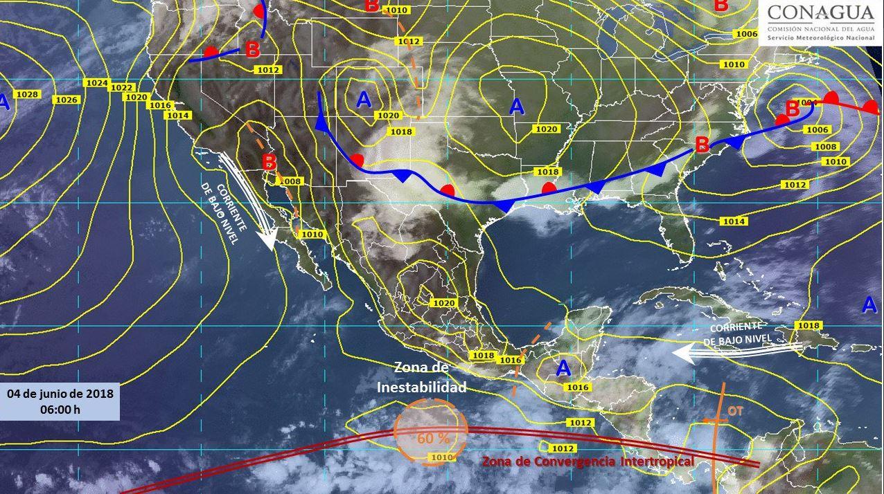 Mapa con el pronóstico del clima para este 4 de junio. (SMN)