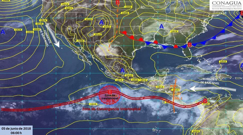 Mapa con el pronóstico del clima para este 5 de junio. (SMN)
