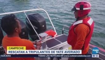Marina rescata a tripulantes de yate averiado en Campeche