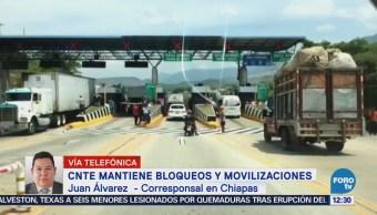 Miembros de la CNTE en Chiapas bloquean accesos a centros comerciales
