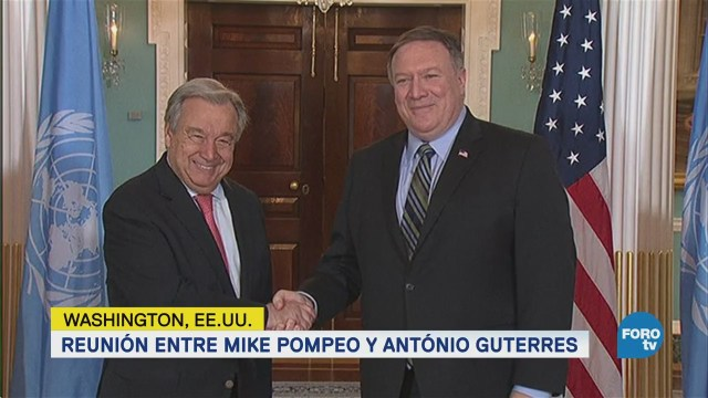 Mike Pompeo António Guterres Reúnen Washington