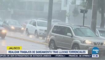 Realizan trabajos de saneamiento tras lluvias torrenciales en Jalisco