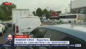 Reportan tránsito lento en avenida 100 Metros, CDMX
