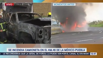 Se incendia camioneta en la autopista México-Puebla