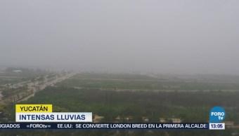 Se registran fuertes lluvias en la Península de Yucatán