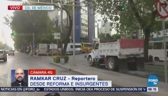 Varios camiones afectan la circulación en Reforma, CDMX