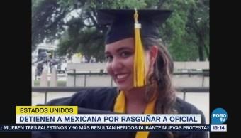 Estados Unidos Detienen Mexicana Rasguñar Oficial