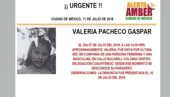 Activan Alerta Ámber para Valeria Pacheco Gaspar