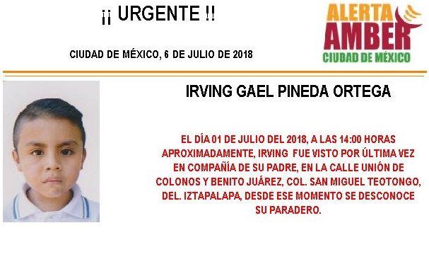 Activan Alerta Ámber para localizar a menor desaparecido en Iztapalpa
