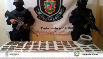 Aseguran en Acapulco armas, droga y cartuchos