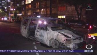 Camioneta se incendia en Chapultepec y Lieja, CDMX