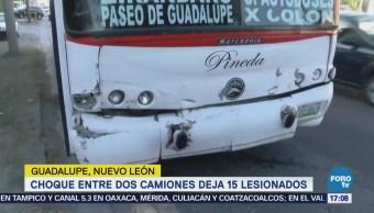 Choque Camiones 15 Pasajeros Lesionados Nuevo León