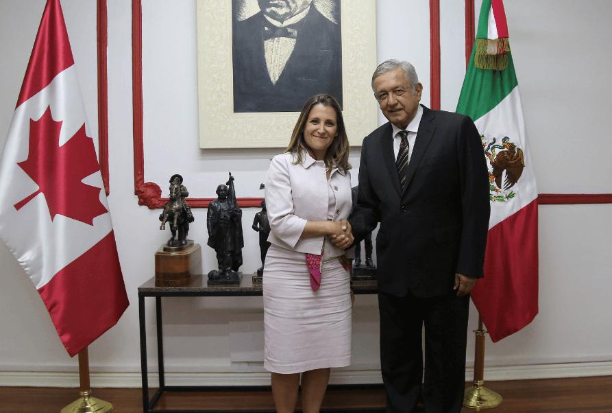 AMLO reúne con ministra Chrystia Freeland