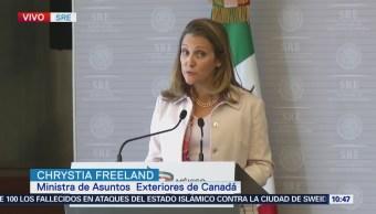 La canciller Chrystia Freeland dice que la relación de México y Canadá es más fuerte en esta época