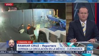 Cierran circulación en la México-Cuernavaca tras accidente
