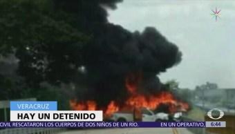 Cinco personas mueren calcinadas tras accidente en Veracruz