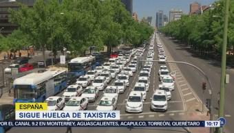 Continúa huelga de taxistas en España