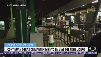 Continúan mantenimiento en el Tren Ligero, CDMX