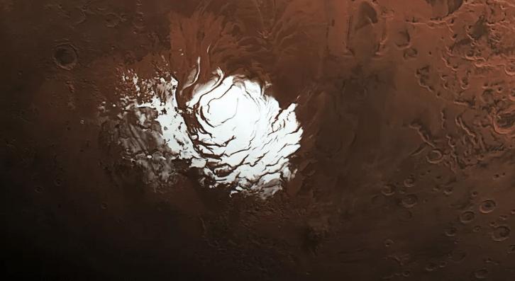 Descubren agua líquida en Marte bajo capa de hielo