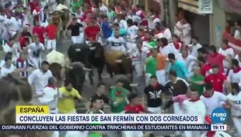 Dos Corneados Fiestas San Fermín Sábado Encierro