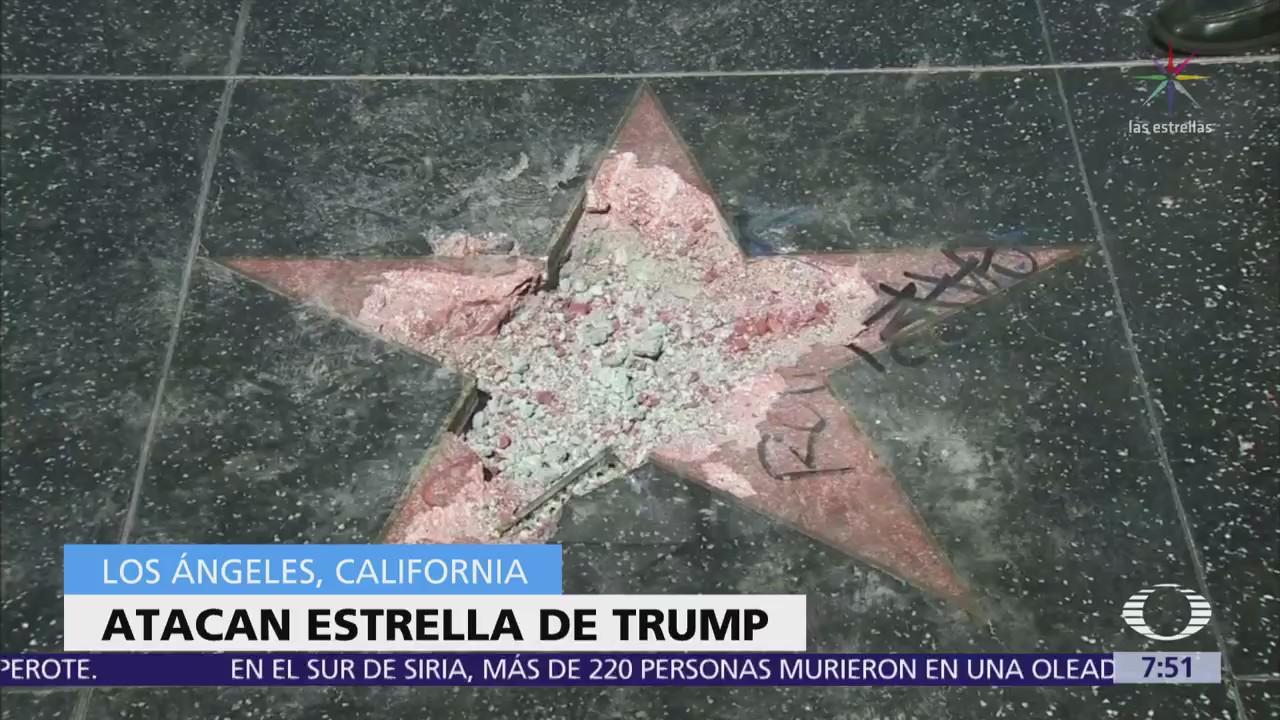 Estrella de Trump en Hollywood es vandalizada