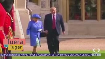Trump rompe protocolo en reunión con reina