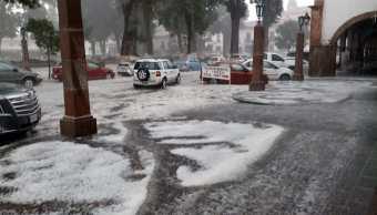 Se registra fuerte granizada Pátzcuaro, Michoacán, sin daños
