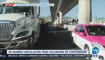 Habilitan un carril para el tránsito en la autopista México-Cuernavaca