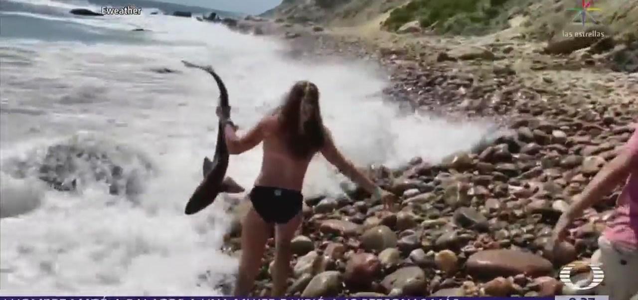 Joven ayuda a tiburón a regresar al mar