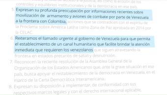 Grupo Lima Expresa Preocupación Venezuela