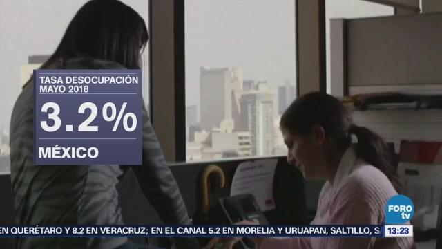 Desocupación México Baja 3.2% Mayo