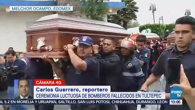 Realizan ceremonia luctuosa de bomberos fallecidos en Tultepec