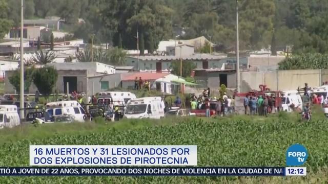 Reportan 16 muertos y 31 lesionados por dos explosiones en Tultepec