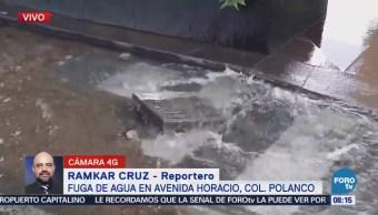 Reportan megafuga de agua en Polanco