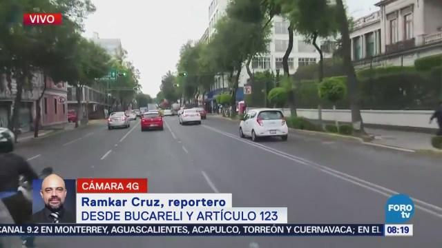 Reportan problemas para circular sobre la calle Artículo 123, CDMX