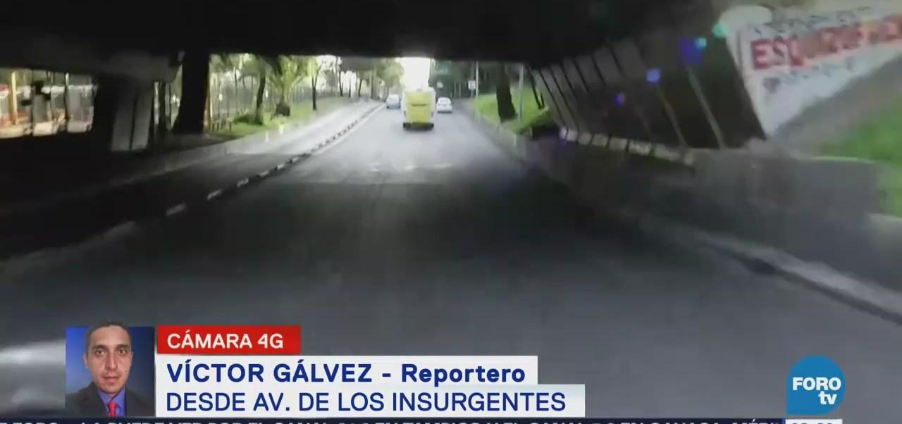 Reportan tránsito fluido en avenida Insurgentes