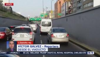 Reportan tránsito pesado en el Viaducto CDMX