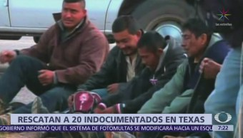 Rescatan a 20 indocumentados en Texas
