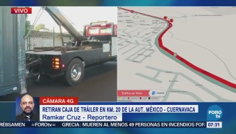 Retiran caja de tráiler accidentado en la autopista México-Cuernavaca