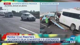 Retiran combi accidentada de la autopista México Pachuca