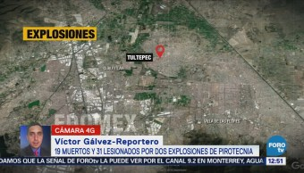 Se eleva a 19 el número de muertos por explosiones en Tultepec