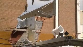 Cae barda de supermercado afectado en sismo del 19S