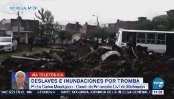 Tromba afecta casas y arrastra vehículos en Morelia