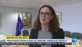 Unión Europea busca aliviar tensión comercial con EU