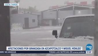 Afectaciones por granizada en Azcapotzalco y Miguel Hidalgo