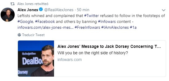 Twitter explica por qué no censura al periodista Alex Jones